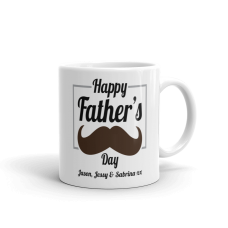 personalized father's day mug with text and mustache