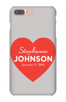 personalized phone case with heart, date and name