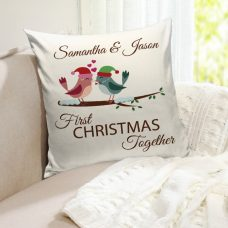 personalized christmas pillow with love birds